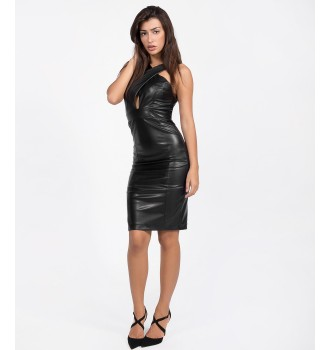Bodycon Leather Look Dress  - Μαύρο