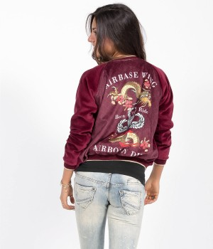 Βελουτέ Bomber Jacket Dragon Airbase - Μαύρο