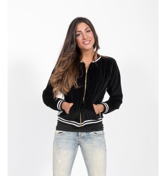 Βελουτέ Bomber Jacket Look For Less - Μαύρο