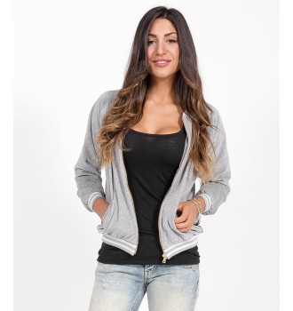 Βελουτέ Bomber Jacket Look For Less - Γκρί