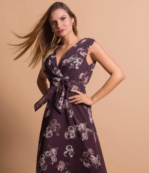 Μάξι Κρουαζέ Φόρεμα με Ζώνη | Εμπριμέ - Βυσσινί