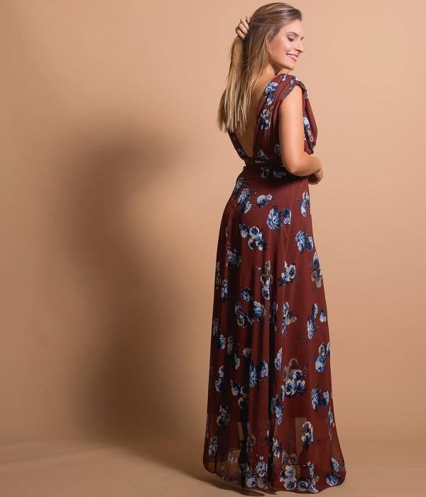Μάξι Κρουαζέ Φόρεμα με Ζώνη   Εμπριμέ - Καφέ
