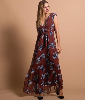 Μάξι Κρουαζέ Φόρεμα με Ζώνη   Εμπριμέ - Βυσσινί
