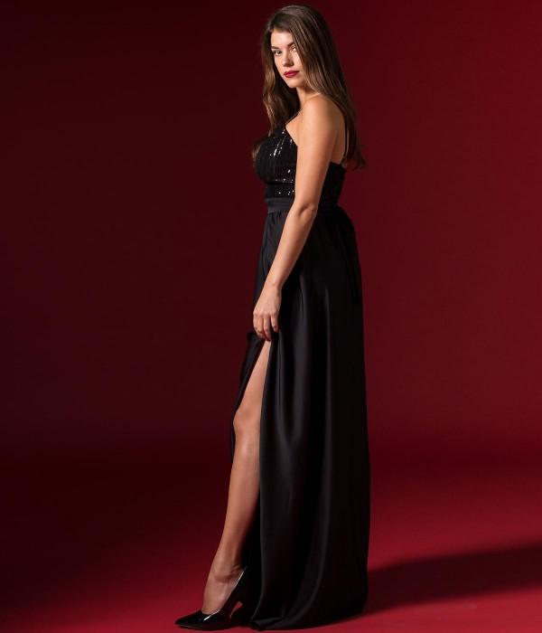 Σατέν Μάξι Φόρεμα με Παγιέτες στο μπούστο  - Μαύρο