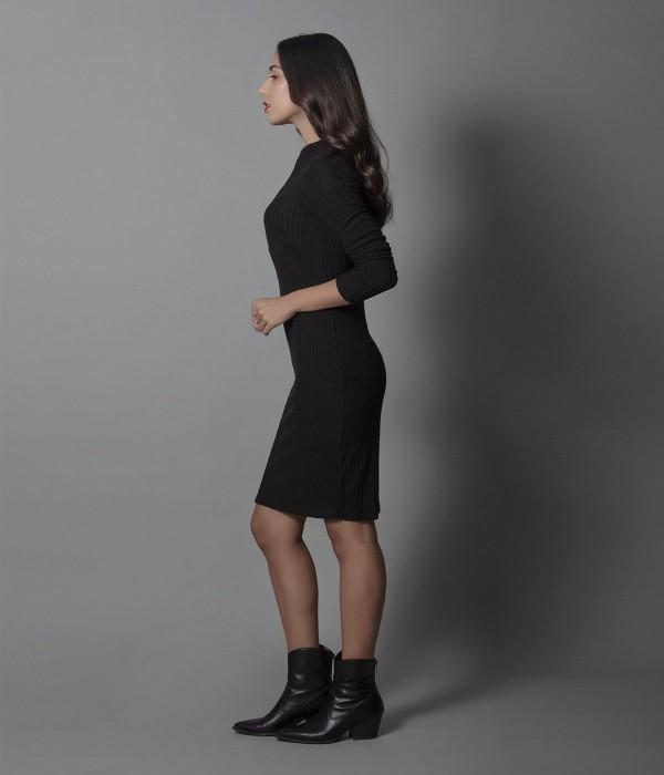 Μίνι Φόρεμα Μακρυμάνικο Ρίπ - Μαύρο