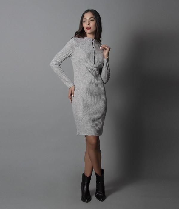 Μίνι Φόρεμα Μακρυμάνικο Ρίπ - Γκρί