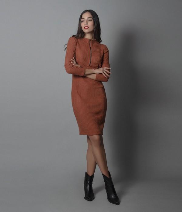 Μίνι Φόρεμα Μακρυμάνικο Ρίπ - Καμηλό