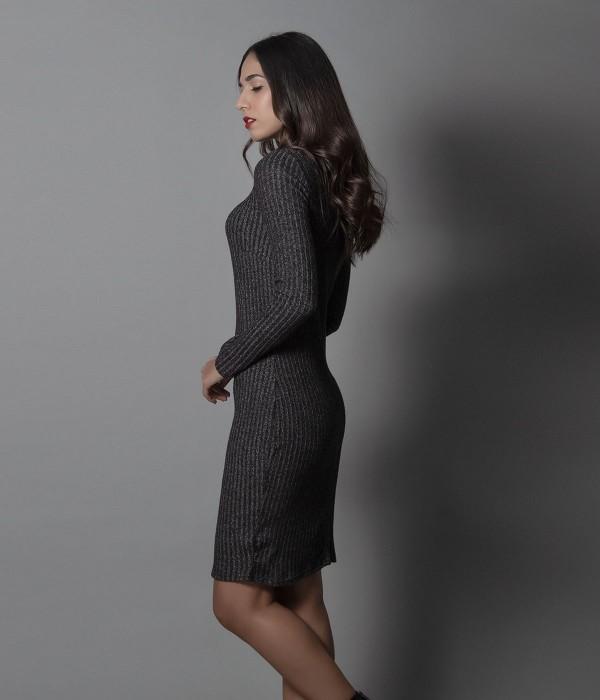 Μίνι Φόρεμα Μακρυμάνικο Ρίπ - Γκρι-Ανθρακί