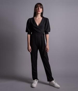 Ολόσωμη Φόρμα Κρουαζέ με Lurex  - Μαύρο