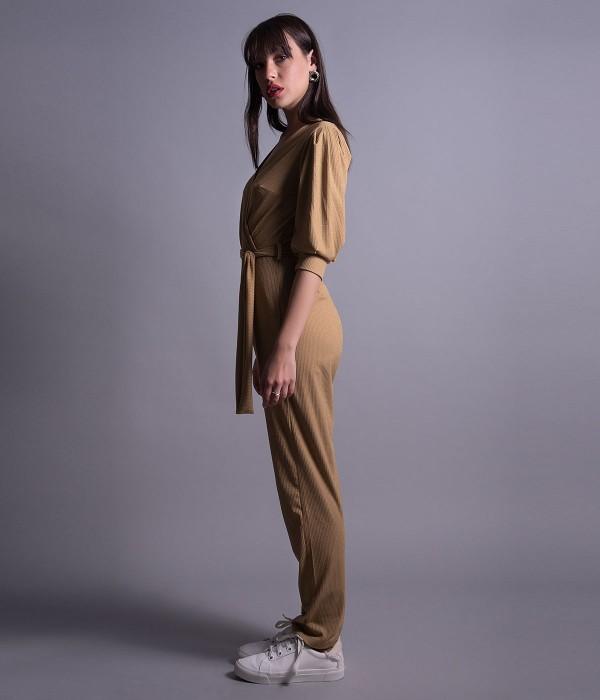 Ολόσωμη Φόρμα Κρουαζέ με Lurex  - Μπεζ