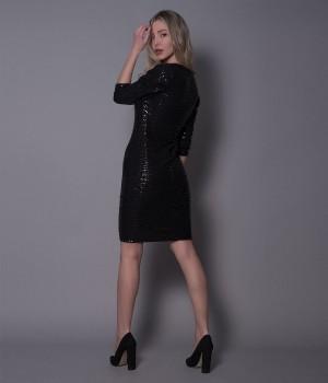 Μίνι Φόρεμα Παγιέτα Φόιλ Με Τετράγωνο Λαιμό - Μαύρο
