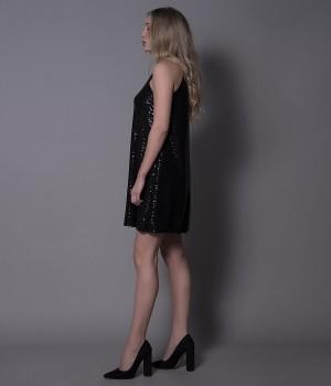 Φόρεμα Εβαζέ Αμάνικο Παγιέτα Φόιλ - Μαύρο