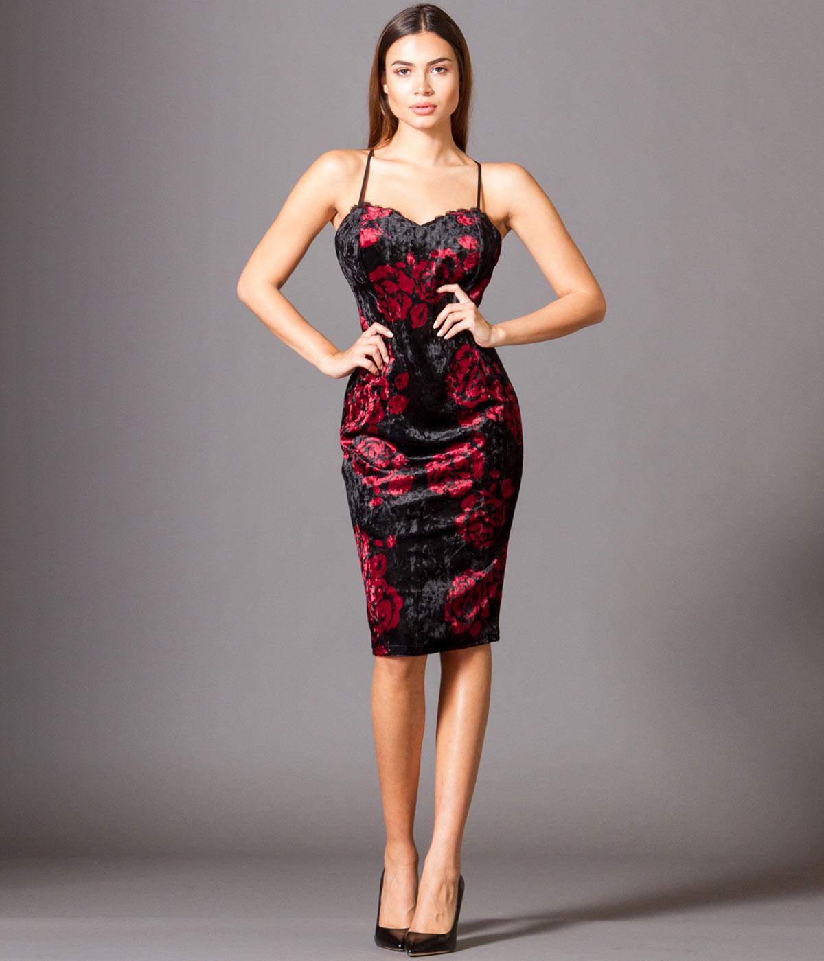 Βελούδινο Εμπριμέ Φόρεμα με Ραντάκι και Δαντέλα - Εμπριμέ-Μπορντό 7dafbf30a86