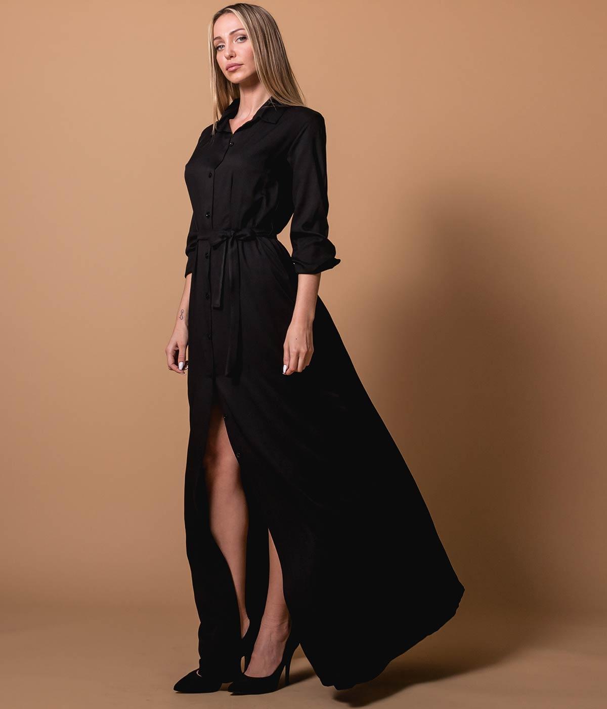Sale Πουκάμισο Φόρεμα Μάξι με Κουμπιά - Μαύρο · Πουκάμισο ... 495ab142b82